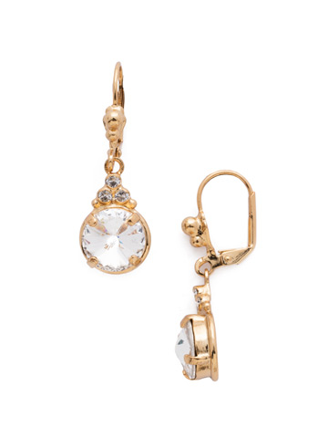 Radiant Round French Wire Earring in Bright Gold-tone Crystal