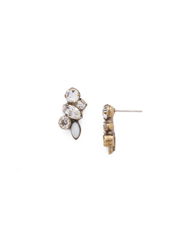 Petite Crystal Cluster Post Earrings in Antique Gold-tone Crystal