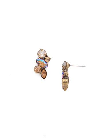 Petite Crystal Cluster Post Earrings in Antique Gold-tone Neutral Territory