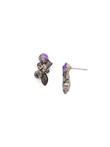 Petite Crystal Cluster Post Earrings in Antique Silver-tone Crystal Rock
