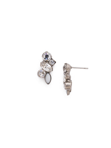 Petite Crystal Cluster Post Earrings in Antique Silver-tone Crystal
