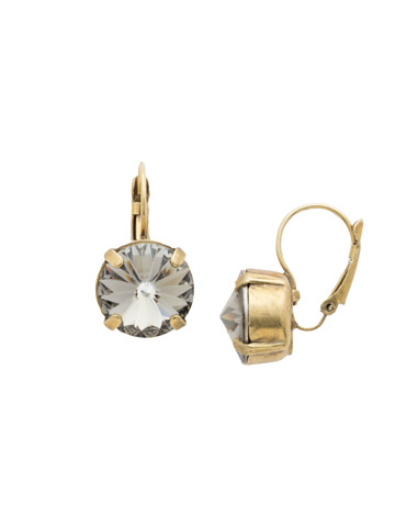 Radiant Round French Wire Earring in Antique Gold-tone Black Diamond