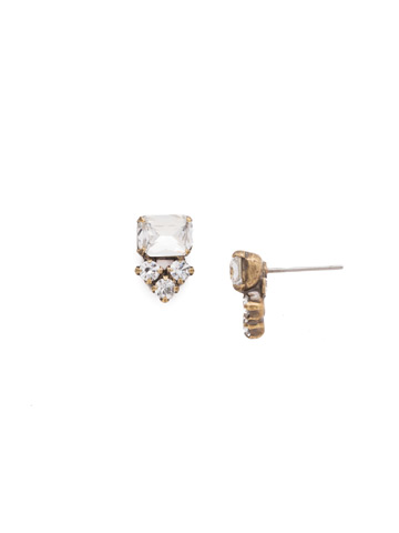 Truncated Cluster Post Earring in Antique Gold-tone Crystal