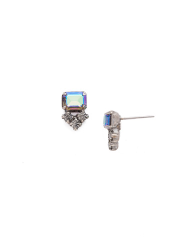 Truncated Cluster Post Earring in Antique Silver-tone Crystal Rock