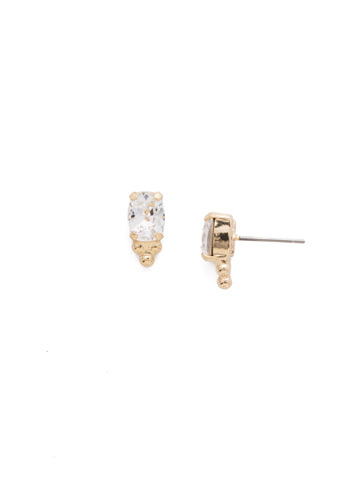 Ternion Post Earring in Bright Gold-tone Crystal