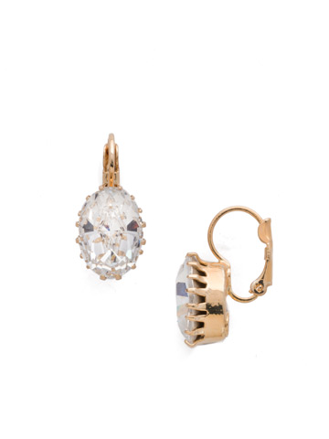 Crown Jewel French Wire Earring in Bright Gold-tone Crystal