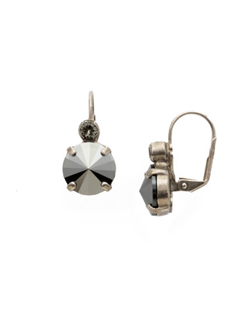 Closed Circle Earring in Antique Silver-tone Black Onyx