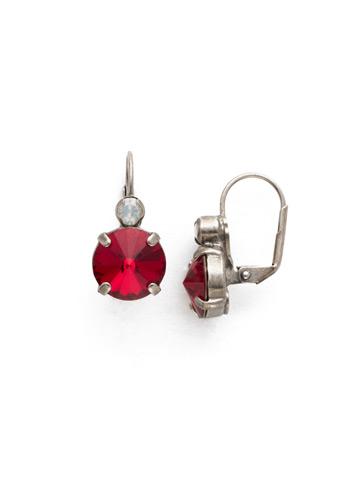 Closed Circle Earring in Antique Silver-tone Crimson Pride