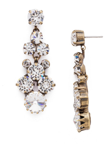 Well-Rounded Crystal Drop Earring in Antique Gold-tone Crystal