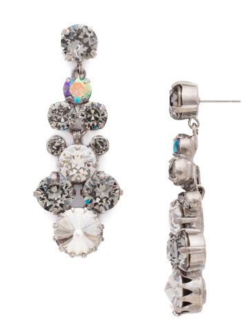Well-Rounded Crystal Drop Earring in Antique Silver-tone Crystal Rock