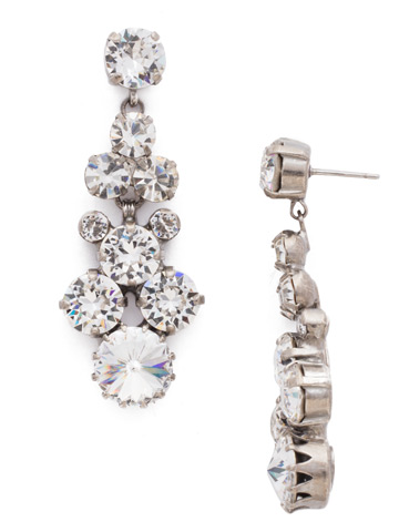 Well-Rounded Crystal Drop Earring in Antique Silver-tone Crystal