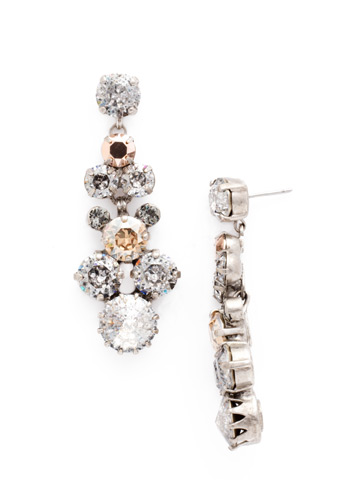 Well-Rounded Crystal Drop Earring in Antique Silver-tone Gold Vermeil