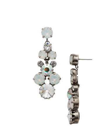 Well-Rounded Crystal Drop Earring in Antique Silver-tone White Bridal