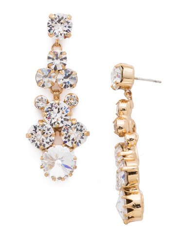 Well-Rounded Crystal Drop Earring in Bright Gold-tone Crystal
