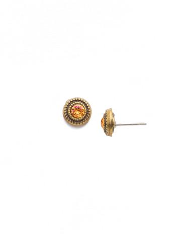 Macrame Stud Earring in Antique Gold-tone Bohemian Bright