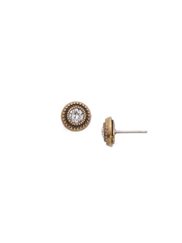 Macrame Stud Earring in Antique Gold-tone Crystal