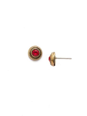 Macrame Stud Earring in Antique Gold-tone Sansa Red