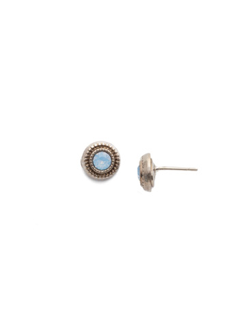 Macrame Stud Earring in Antique Silver-tone Pastel Prep