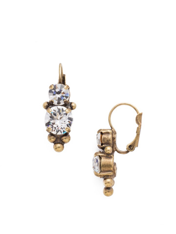 Ornate Crystal Rounds French Wire Earring in Antique Gold-tone Crystal