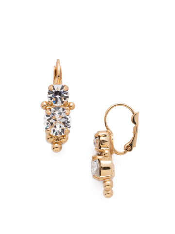 Ornate Crystal Rounds French Wire Earring in Bright Gold-tone Crystal
