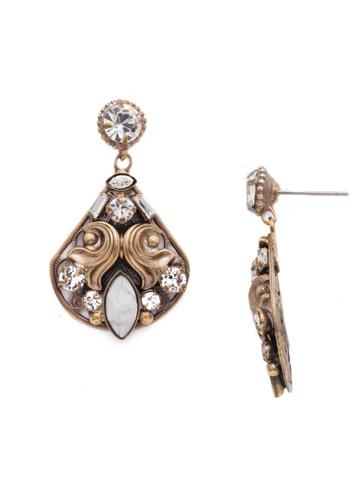 Novelty Embellished Earring in Antique Gold-tone Crystal