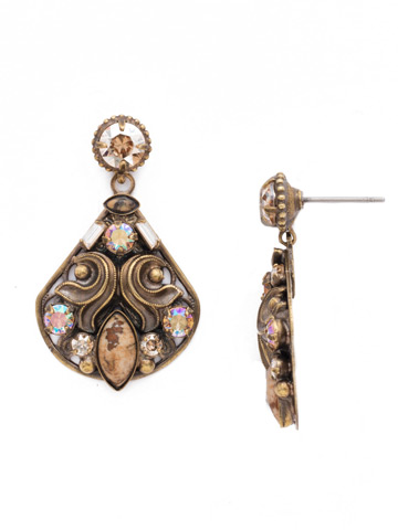 Novelty Embellished Earring in Antique Gold-tone Neutral Territory
