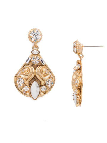Novelty Embellished Earring in Bright Gold-tone Crystal