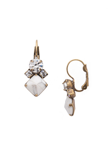 Gingham French Wire Earring in Antique Gold-tone Crystal