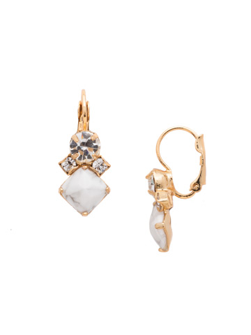 Gingham French Wire Earring in Bright Gold-tone Crystal