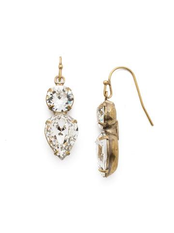 Brilliant Teardrop Earring in Antique Gold-tone Crystal