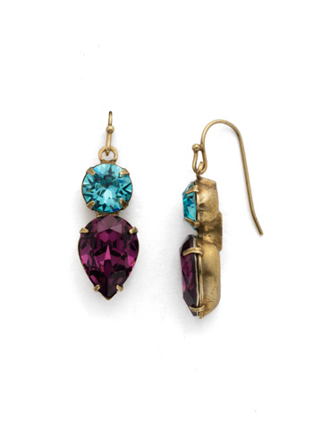 Brilliant Teardrop Earring in Antique Gold-tone Jewel Tone