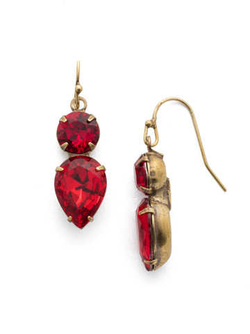 Brilliant Teardrop Earring in Antique Gold-tone Sansa Red
