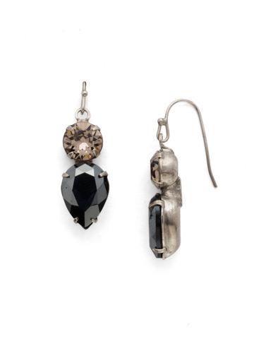 Brilliant Teardrop Earring in Antique Silver-tone Black Onyx