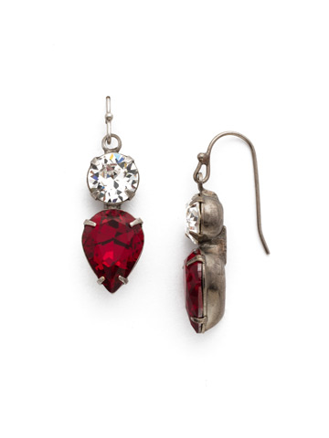 Brilliant Teardrop Earring in Antique Silver-tone Crimson Pride
