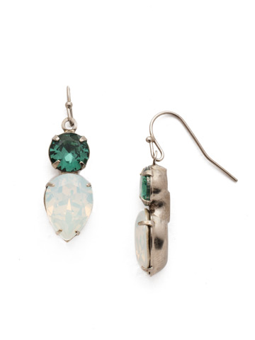 Brilliant Teardrop Earring in Antique Silver-tone Game Day Green