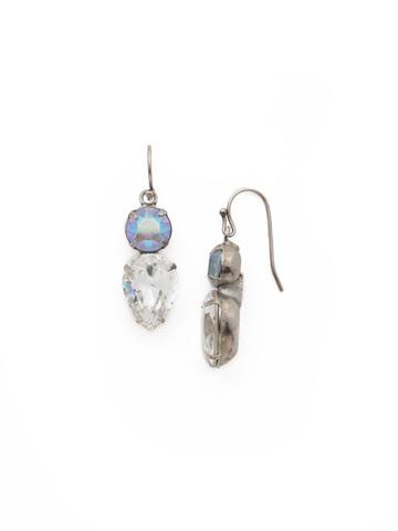 Brilliant Teardrop Earring in Antique Silver-tone Rainbow Quartz