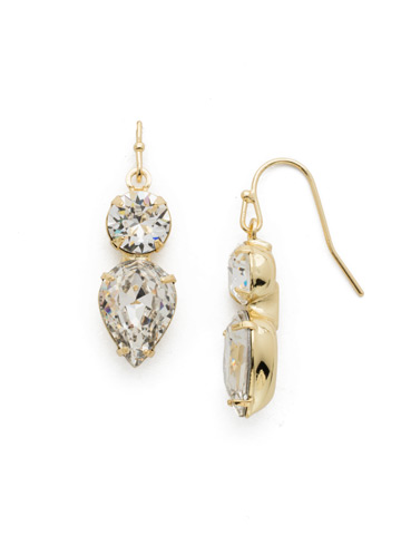 Brilliant Teardrop Earring in Bright Gold-tone Crystal