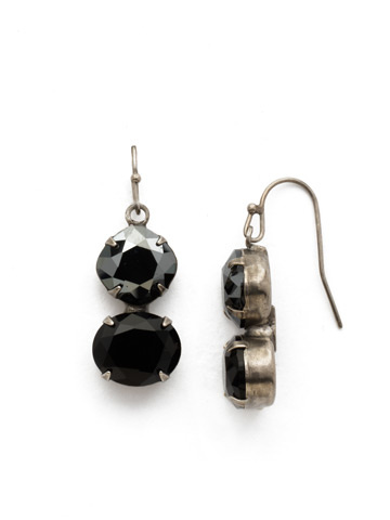 Dynamic Duo Earring in Antique Silver-tone Black Onyx
