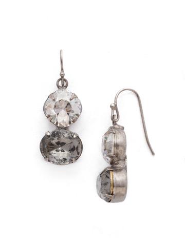 Dynamic Duo Earring in Antique Silver-tone Crystal Rock