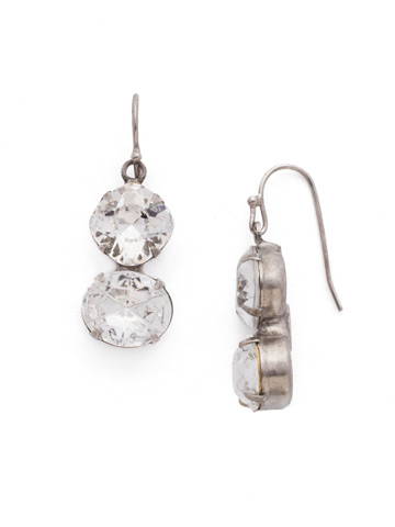 Dynamic Duo Earring in Antique Silver-tone Crystal