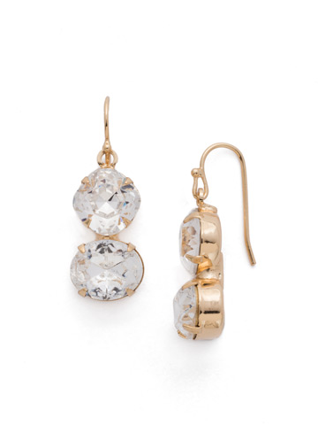 Dynamic Duo Earring in Bright Gold-tone Crystal