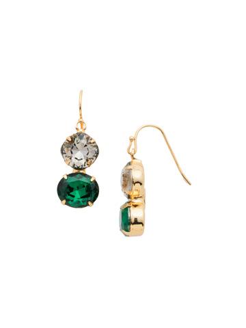 Dynamic Duo Earring in Bright Gold-tone Dark Multi