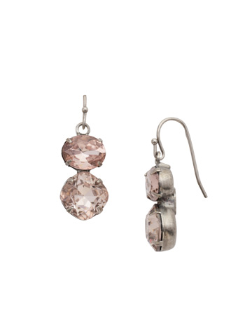 Opulent Oval and Round Drop Earring in Antique Silver-tone Satin Blush