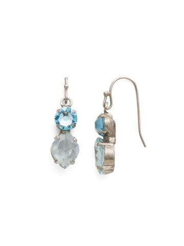 Majestic Marquise Earring in Antique Silver-tone Aquamarine