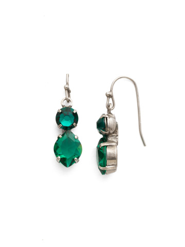 Majestic Marquise Earring in Antique Silver-tone Emerald