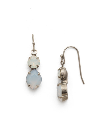 Majestic Marquise Earring in Antique Silver-tone White Opal