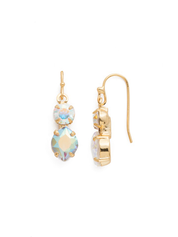 Majestic Marquise Earring in Bright Gold-tone Crystal Aurora Borealis