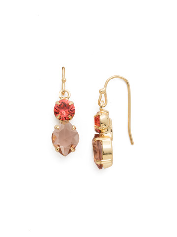 Majestic Marquise Earring in Bright Gold-tone Coral