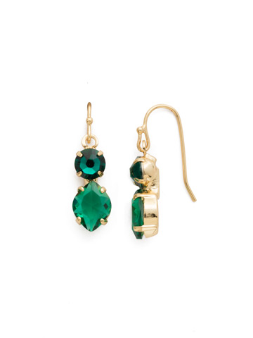 Majestic Marquise Earring in Bright Gold-tone Emerald