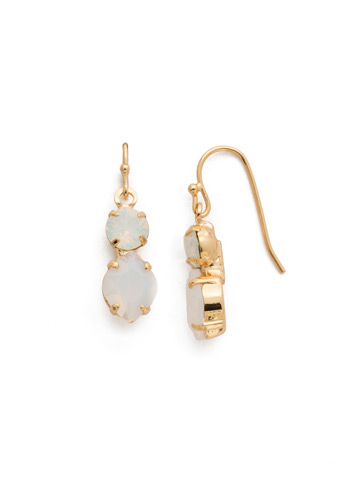 Majestic Marquise Earring in Bright Gold-tone White Opal
